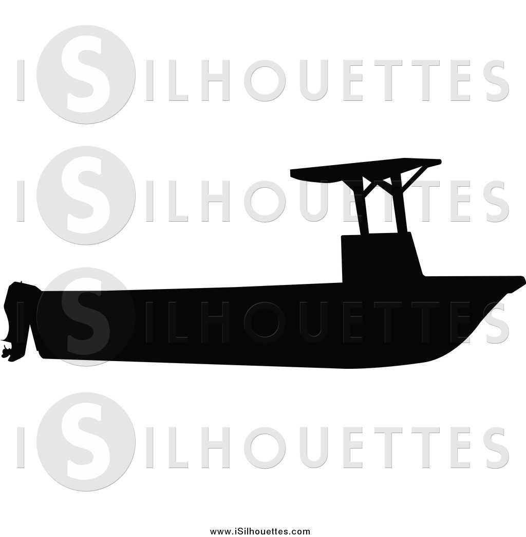1024x1044 Clipart Of A Silhouetted Black Fishing Boat With Canopy Silhouette