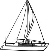 164x170 Drawn Sailing Boat Black And White