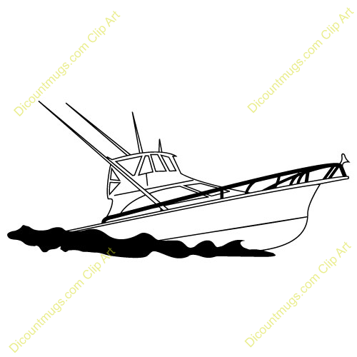 500x500 Fishing Boat Clipart Black And White