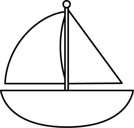 445x425 Black And White Sailboat Clip Art