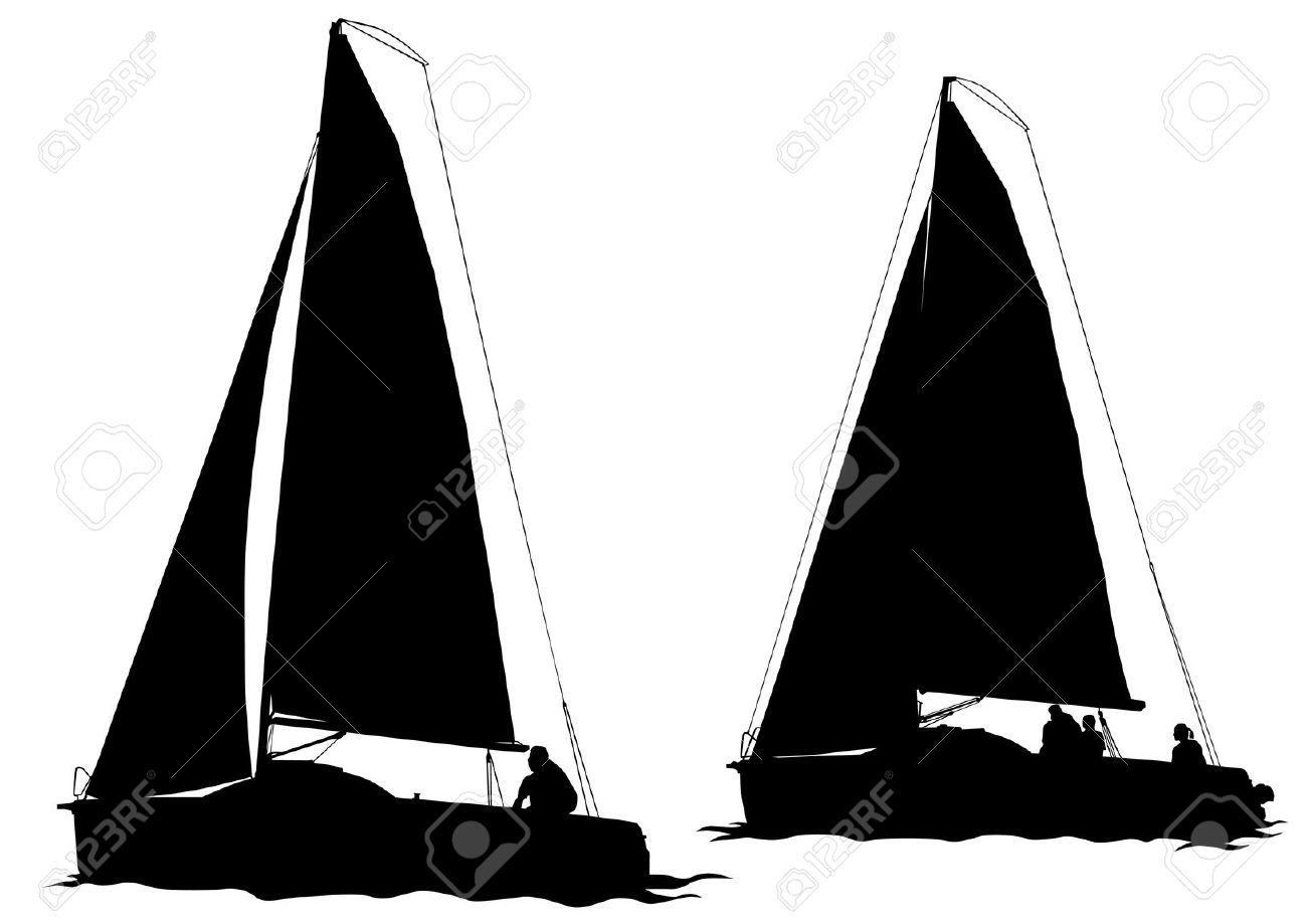 1300x919 Drawn Sailboat Silhouette