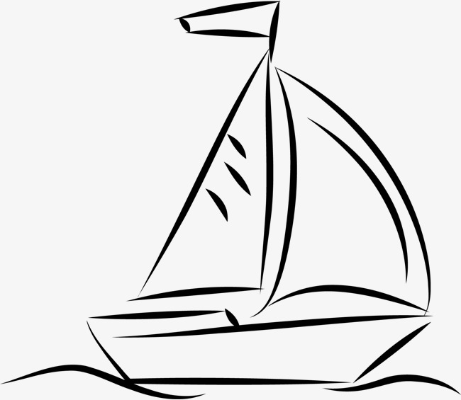 650x565 Hand Drawn Sailboat, Black, Silhouette, Colour Png Image For Free