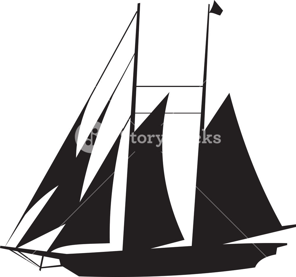 1000x936 Sail Boat Silhouette Royalty Free Stock Image