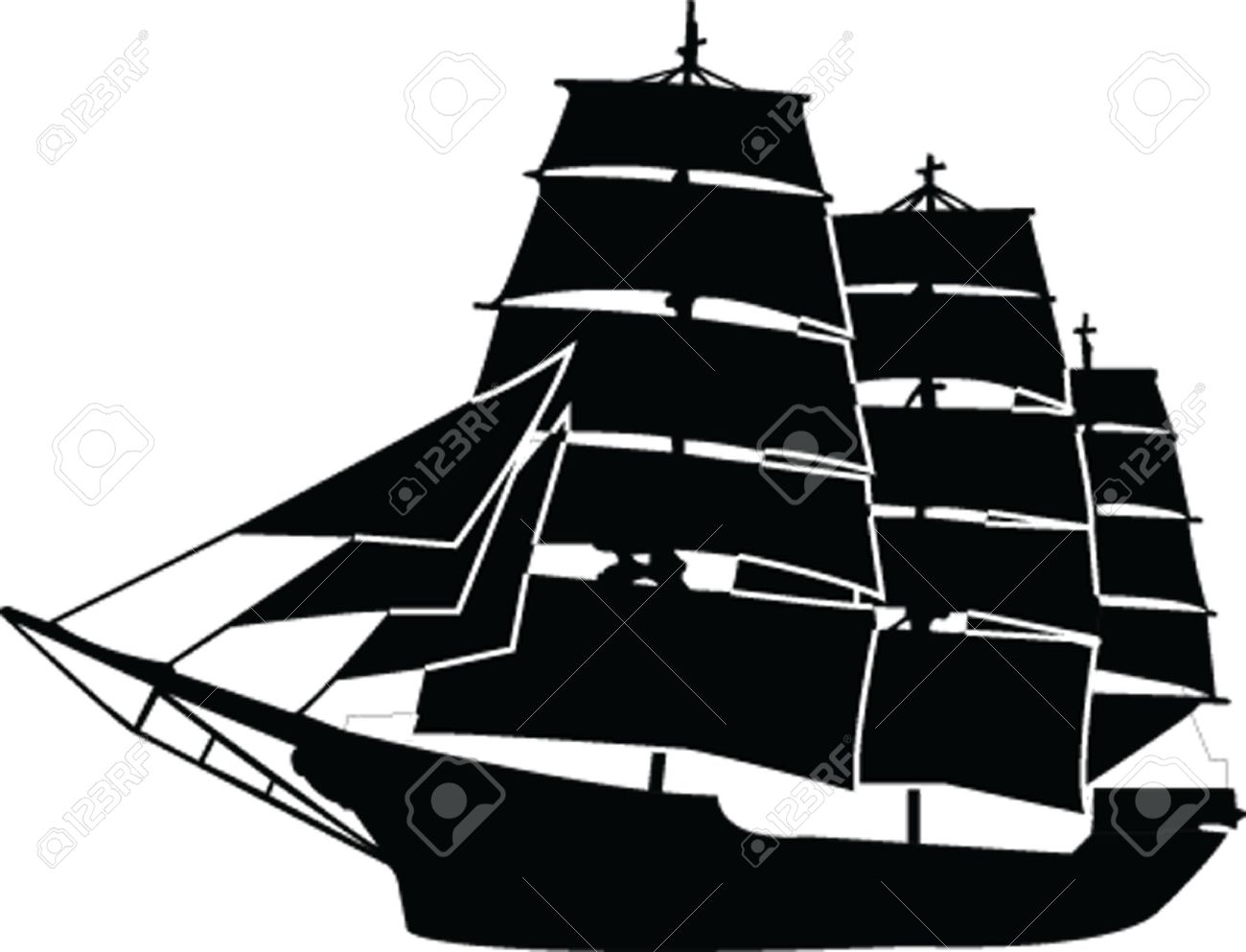 1300x993 Sailboat Silhouette With Outline