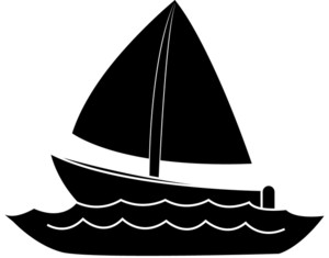 300x235 Sailing Boat Clipart Silhouette