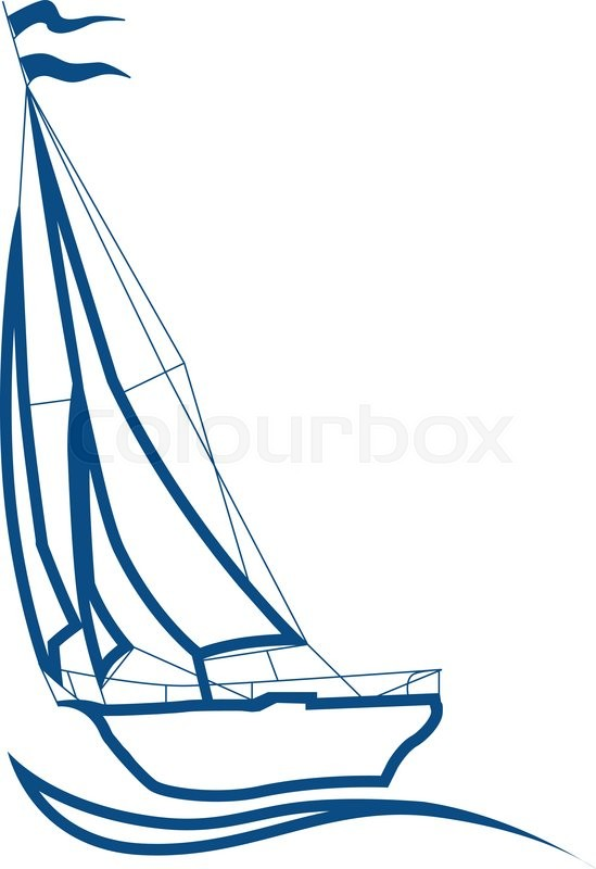 549x800 Silhouette Of Sailboat, Vector Sign For Sailing. Sea Cruise