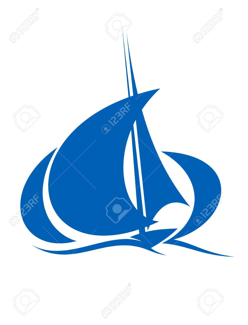 992x1300 Stylized Silhouette Of Blue Yacht Sailing The Ocean Waves