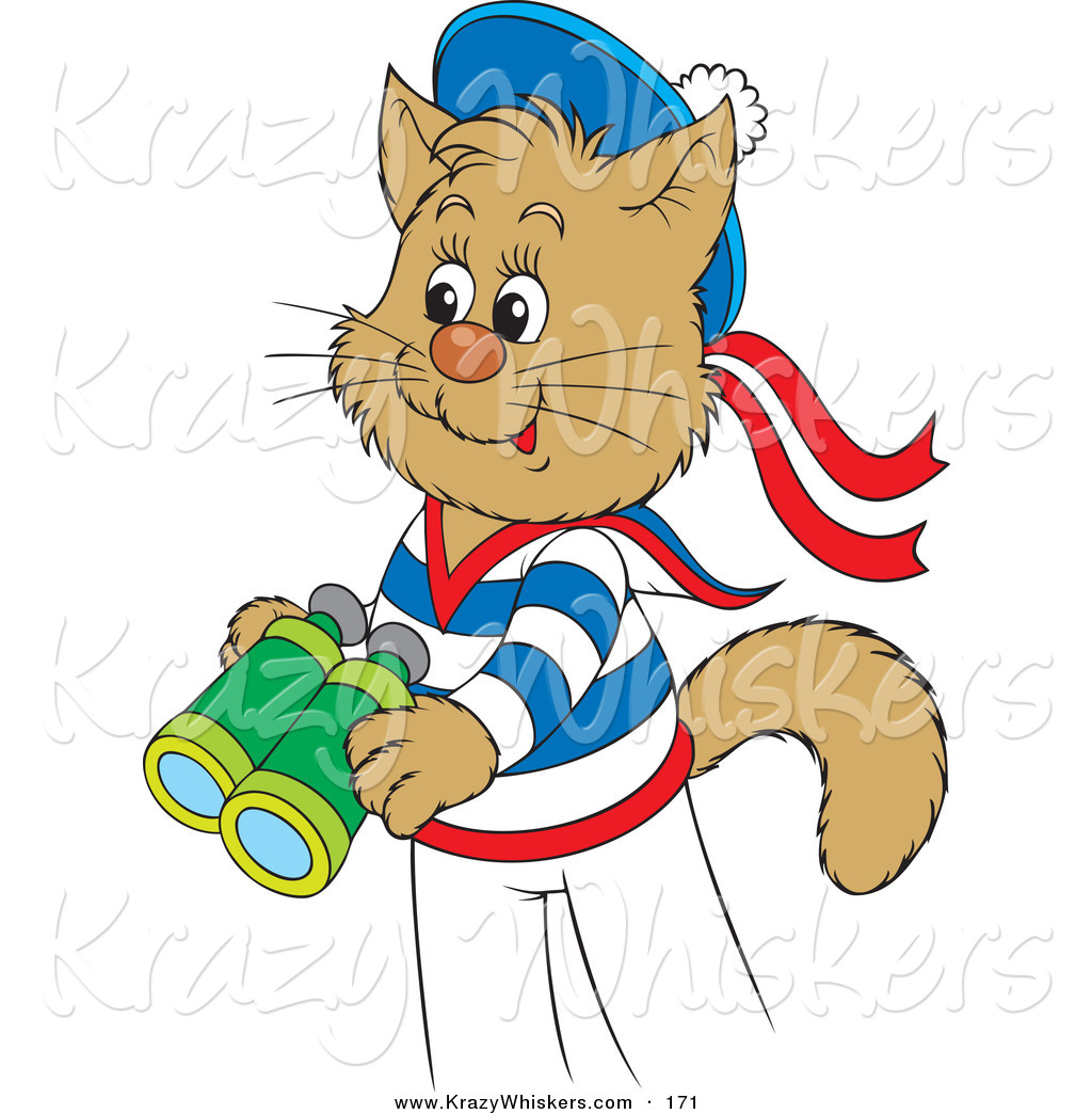 1024x1044 Critter Clipart Of A Cute And Happy Sailor Cat In Uniform, Holding