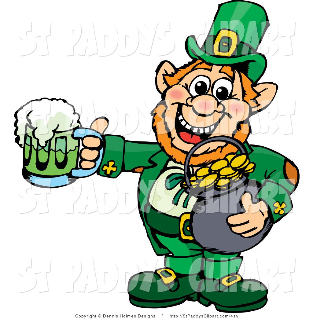 1024x1044 Vector Clip Art Of A Saint Patricks Day Leprechaun Holding A Pot