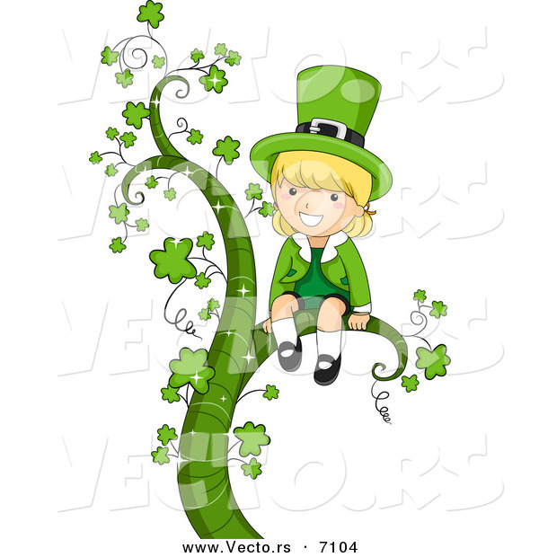 600x620 Cartoon Vector Of A Happy St. Patrick's Day Leprechaun Girl