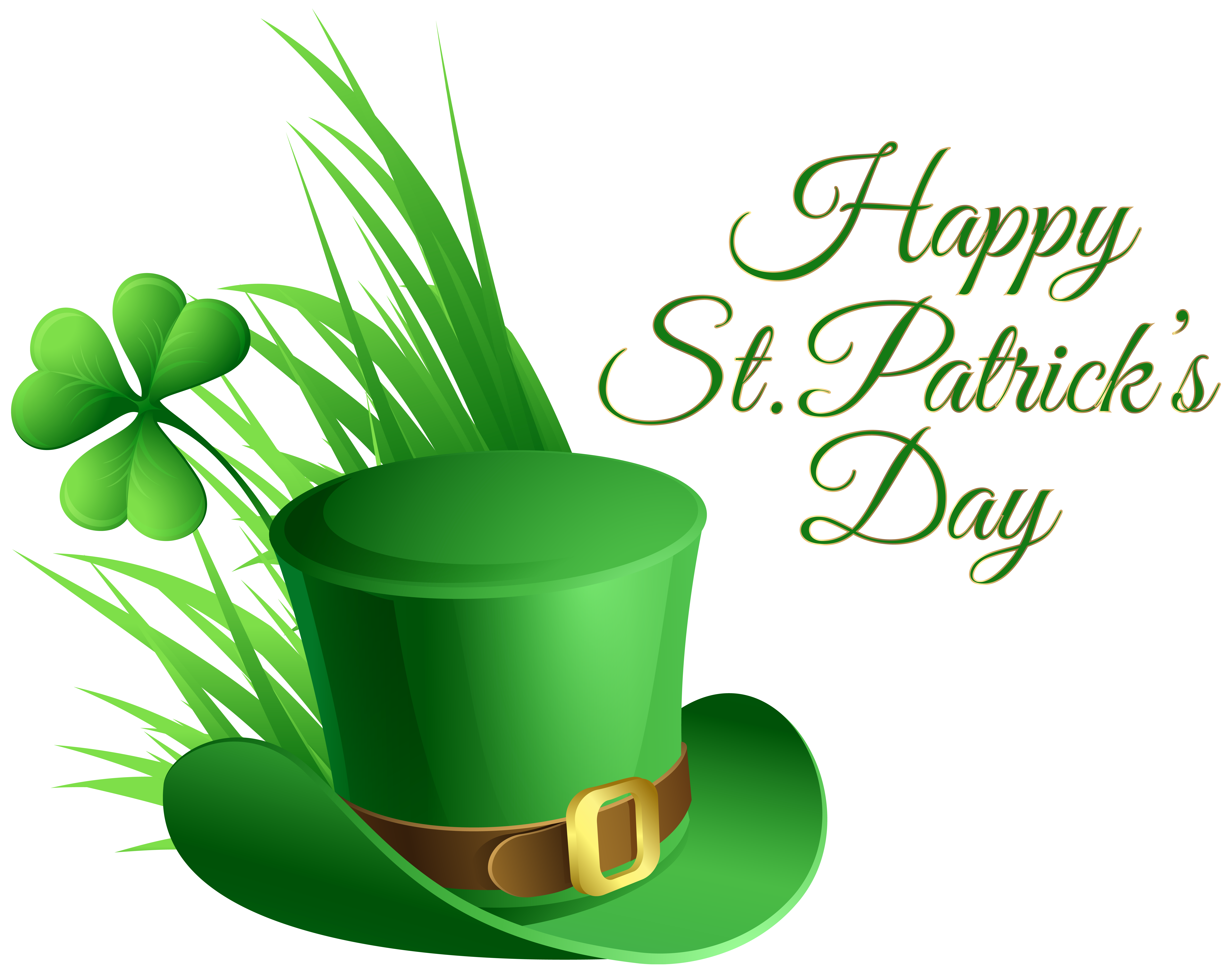 7246x5723 St Patricks Day Hat And Shamrock Transparent Png Clip Art Image