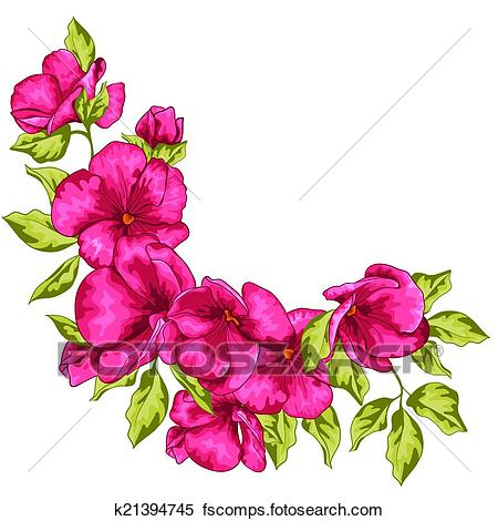 450x470 Clipart Of Wedding Card. Sakura Flowers. Vector Illustration