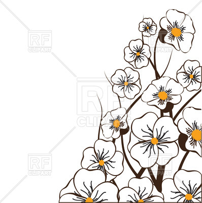 398x400 Hand Drawn Sakura Flowers And Place For Text Royalty Free Vector