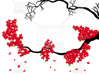 400x300 Blooming And Dried Sakura Branches Royalty Free Vector Clip Art