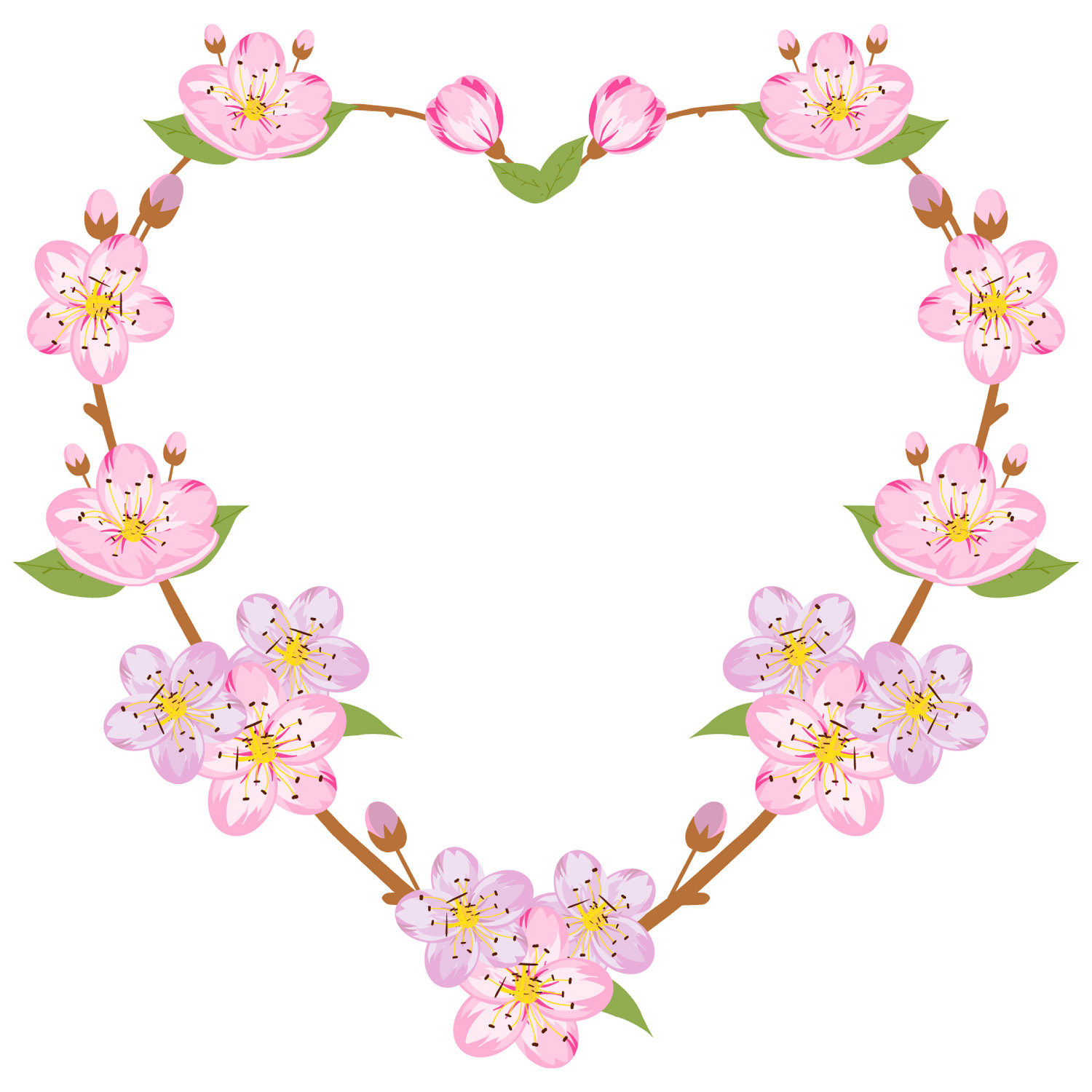 1500x1500 Spring Clipart, Sakura Clipart, Spring Wreath, Heart Wreath
