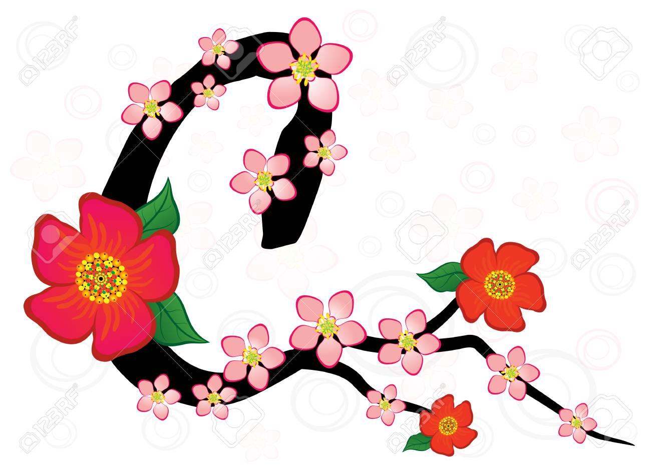 1300x939 Alphabet With Gentle Sakura Flowers. Letter C Royalty Free