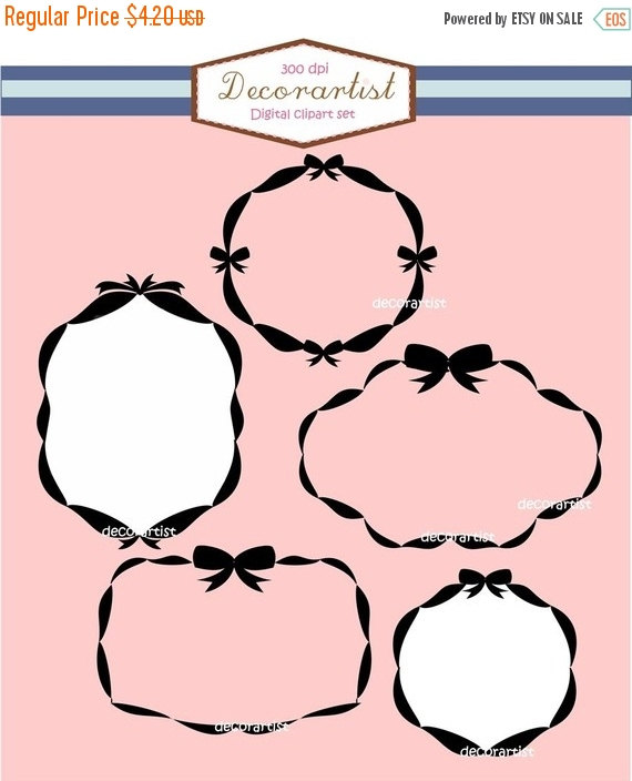 570x704 ON SALE Frames clipart, Digital border, ribbon frames, girls party