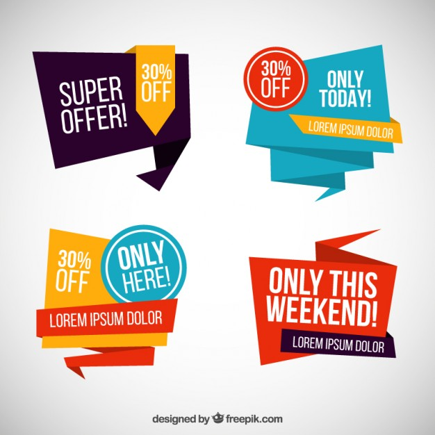 626x626 Origami sale banners Vector Free Download