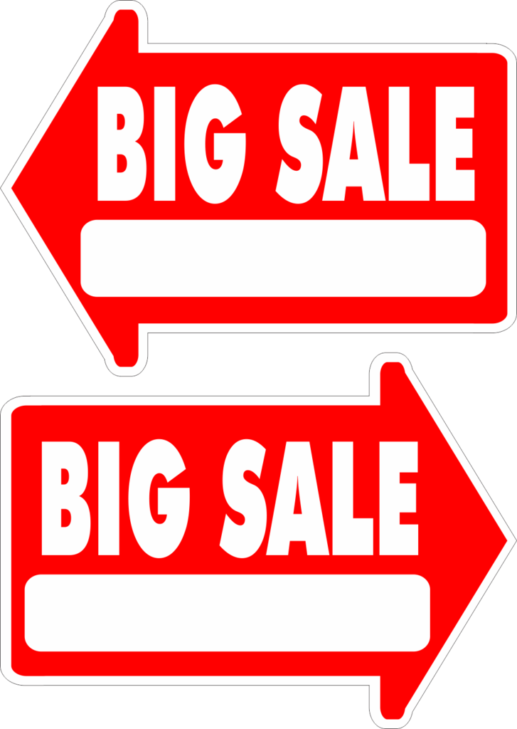 727x1024 Yard Sale Sign Arrow Shaped With Frame Big Sale FREE SHIPPING