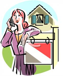 247x300 Real Estate Agent Talking On Her Cell Phone Near A For Sale Sign