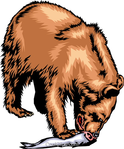 398x480 Grizzly Bear Eating A Salmon Royalty Free Vector Clip Art
