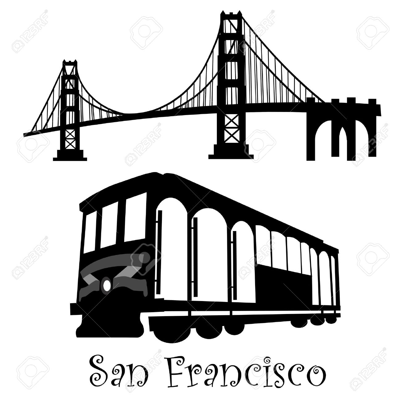 1300x1300 58 Cable Car San Francisco Stock Illustrations, Cliparts