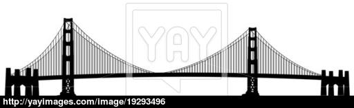 512x157 San Francisco Golden Gate Bridge Clip Art Image