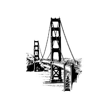 360x360 San Francisco Golden Gate Bridge Rubber Stamp