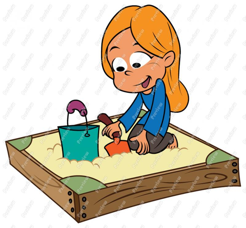 800x744 Girl Playing In Sandbox Clip Art