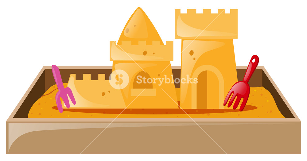 1000x526 Sand Castle In Sandbox Illustration Royalty Free Stock Image