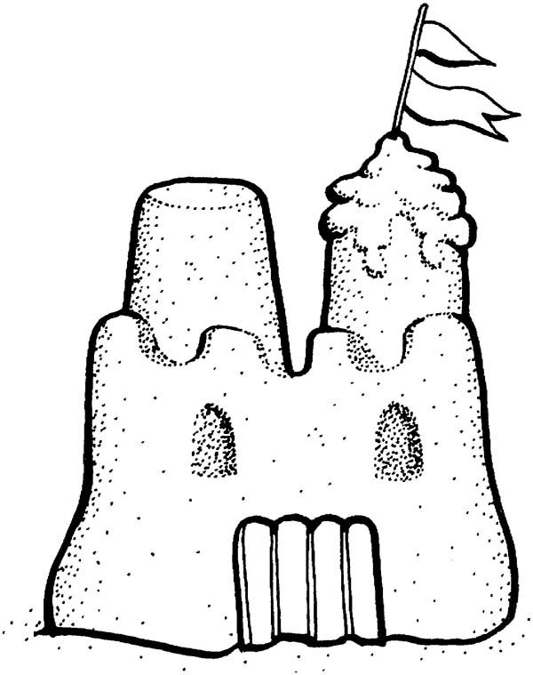 600x759 Picture Of Sand Castle Coloring Page