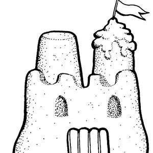 300x300 Beautiful Sand Castle Picture Coloring Page