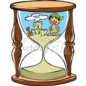 300x300 Royalty Free Cartoon Hourglass With Sand Castle On Beach 387791