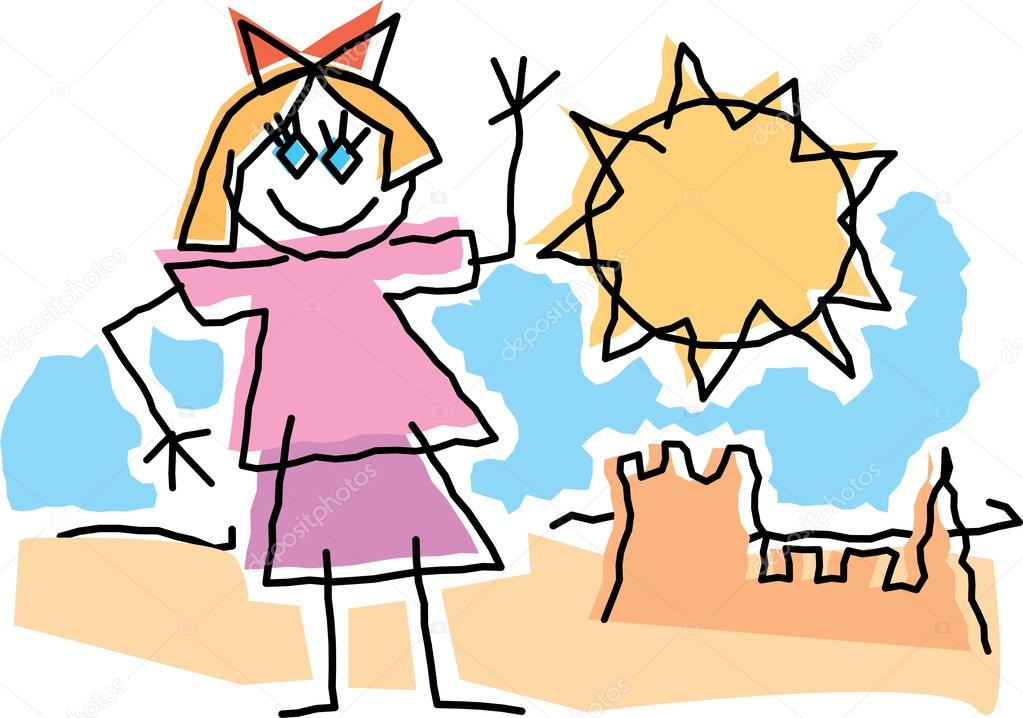 1023x718 Childlike Drawing Of Little Girl Wavingnd Playing By