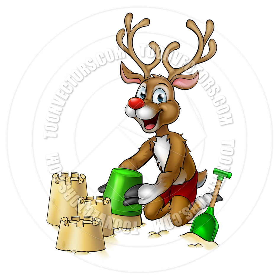 940x940 Christmas Reindeer Making Beach Sandcastles By Geoimages Toon