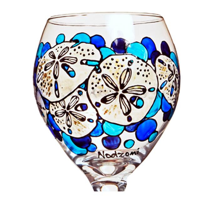 648x648 Sand Dollar Wine Glass Hand Painted Custom Wine Glasses Design