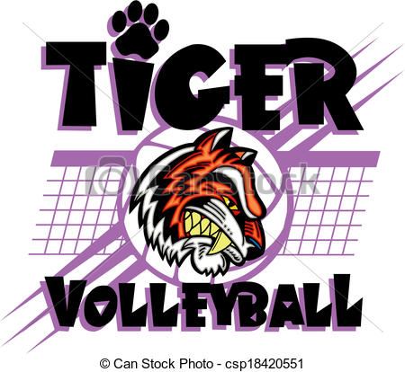 450x414 Tiger Volleyball Clipart