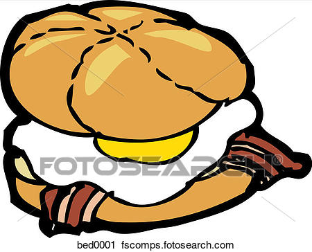 450x364 Clipart Of A Bacon And Egg Sandwich Bed0001
