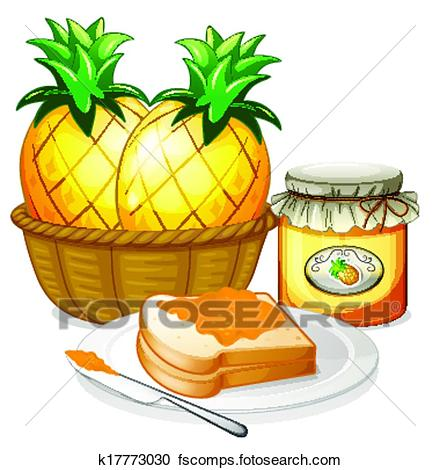 440x470 Clipart Of Pineapple, Jam And Sandwich K17773030