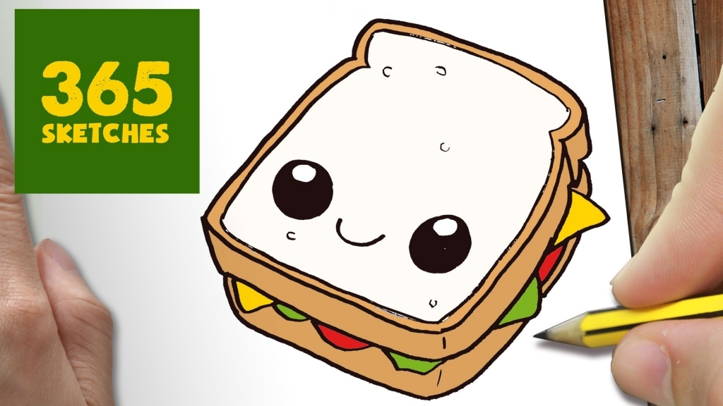 1024x576 Cute Easy Drawings How To Draw A Sandwich Cute Easy Step Step