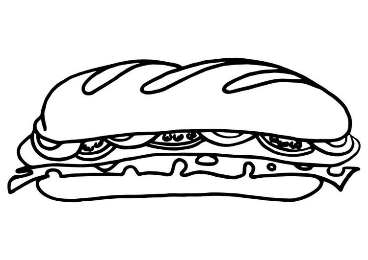 750x531 Drawn Sandwich Coloring