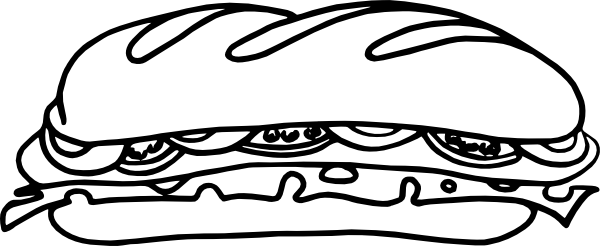 600x246 Sub Sandwich Drawing Clipart Panda
