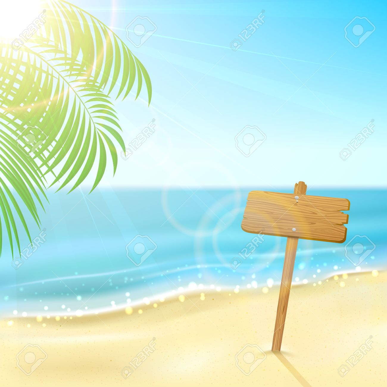1300x1300 Tropical Background With Wooden Sign On Sandy Beach, Illustration