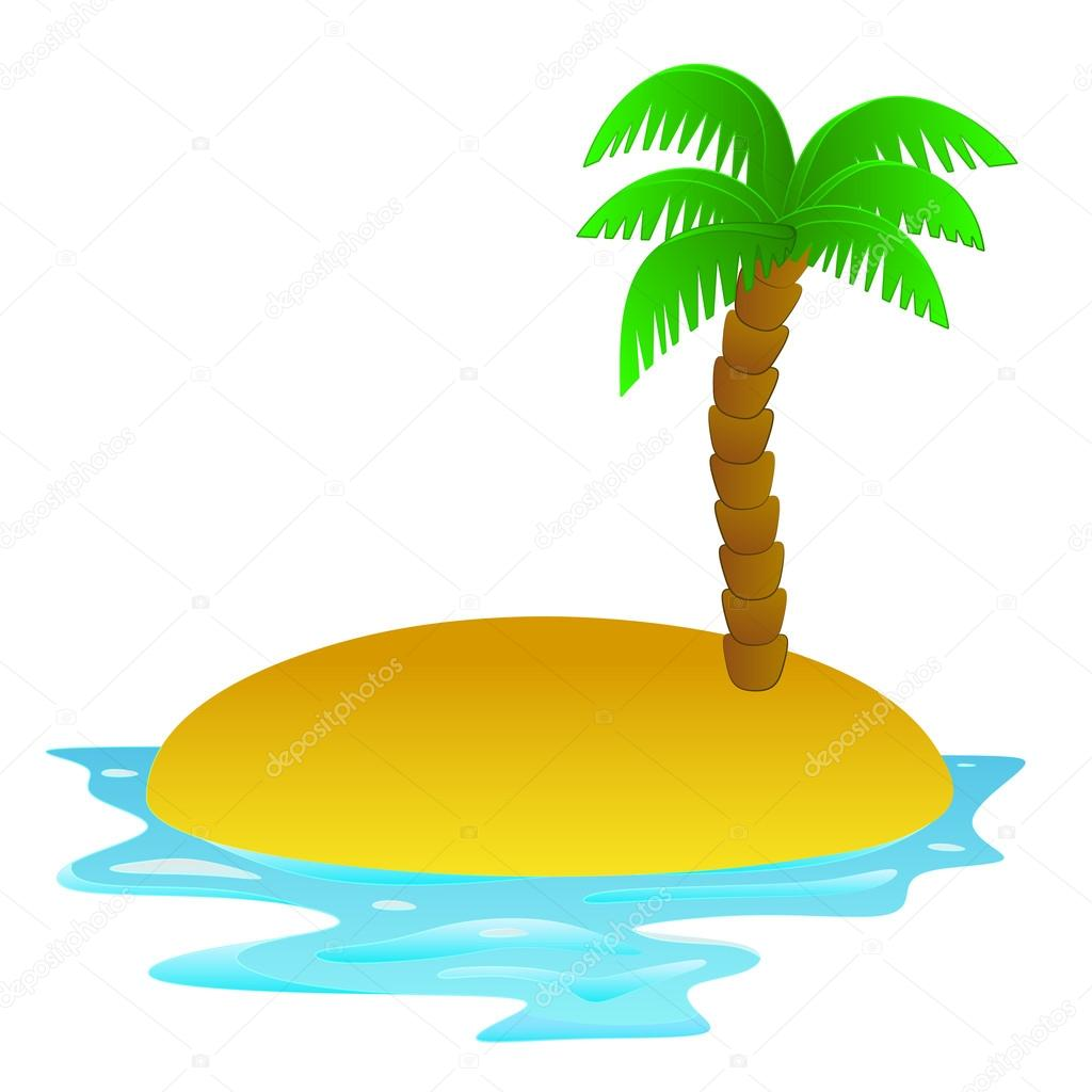1024x1024 Lonely Tropical Sandy Island Vector Clip Art Stock Vector