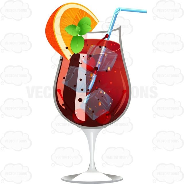 640x640 Dark Red Drink Garnished With A Lemon Wedge And Mint Cartoon