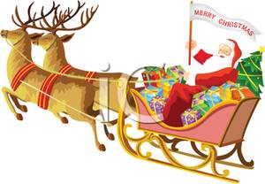 300x208 Colorful Cartoon Of Santa And His Reindeer With A Sleigh Of Toys