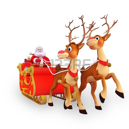 450x450 Illustration Of Santa Claus Riding His Sleigh Stock Photo, Picture