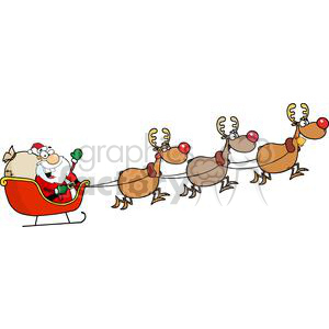 300x300 Royalty Free Santa In His Sleigh And His Reindeer 380551 Vector