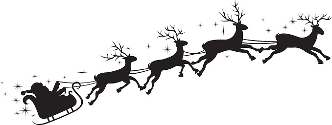 678x256 Santa And Reindeer Clipart Black And White
