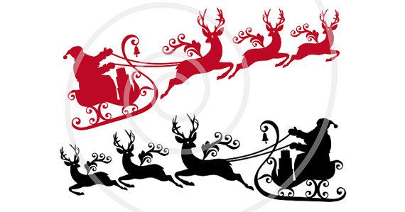 570x299 Santa Claus With Reindeer And His Sleigh Printable Christmas